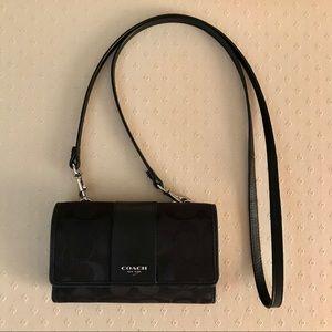 Coach black signature foldover wallet crossbody